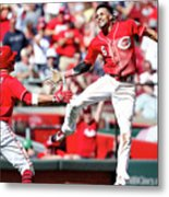 Billy Hamilton and Joey Votto Metal Print