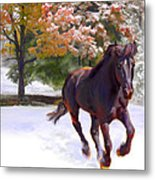 Black Stallion In Fall Snow Fantasy Art Metal Print