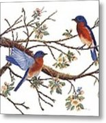 Bluebirds And Apple Blossoms Metal Print