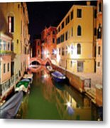 Boats in canal Metal Print
