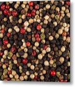 Bowl Of Various Pepper Peppercorns Seeds Mix On Dark Stone Metal Print