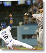 Brandon Crawford and Andre Ethier Metal Print