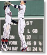 Brandon Guyer and Francisco Lindor Metal Print