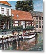 Bruges Boat in Belgium Metal Print