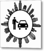 Car Dealer  on Modern Cityscape Skyline Background Metal Print