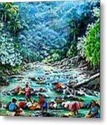 Caribbean Wash Day Metal Print