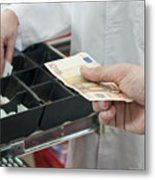 Cash In Hand Of Customer Paying In Supermarket Metal Print