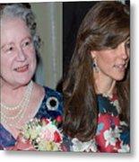 Catherine, Duchess of Cambridge Wears Queen Mother Earrings Metal Print