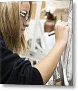 Caucasian girl painting Metal Print