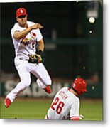 Chase Utley and Jhonny Peralta Metal Print