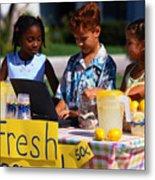 Children Selling Lemonade at Lemonade Stand Metal Print