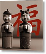 Chinese Statues_Sepia Metal Print