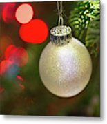 Christmas Ornaments With Bokeh Background Metal Print