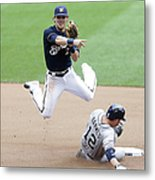 Clint Barmes and Scooter Gennett Metal Print