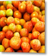 Close-Up Of Tomatoes For Sale Metal Print