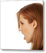 Close-Up Of Woman With Open Mouth Against White Background Metal Print