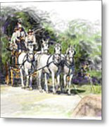 Coaching In Acadia- Carriage Driving Four In Hand Metal Print