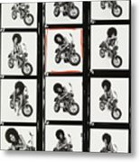 Contact Sheet of Marsha Hunt with a Motorbike Metal Print