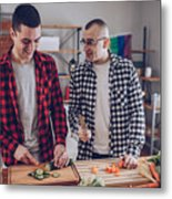 Couple Making Lunch Together Metal Print
