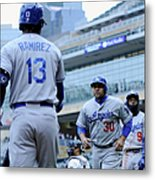 Dee Gordon, Hanley Ramirez, and Miguel Olivo Metal Print