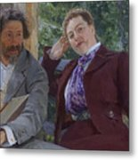 Double Portrait of Natalia Nordmann and Ilya Repin Metal Print