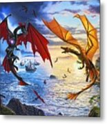 Duel of the Dragon Wizards Metal Print