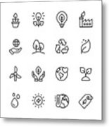 Ecology and Environment Line Icons. Editable Stroke. Pixel Perfect. For Mobile and Web. Contains such icons as Leaf, Ecology, Environment, Lightbulb, Forest, Green Energy, Agriculture. Metal Print