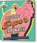 Elephant Car Wash and Space Needle - Seattle Metal Print
