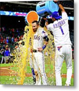 Elvis Andrus And Jonathan Lucroy Metal Print