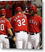 Elvis Andrus, Michael Young, and Josh Hamilton Metal Print