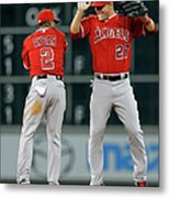 Erick Aybar and Mike Trout Metal Print