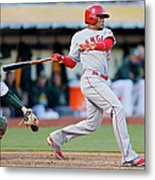 Erick Aybar and Stephen Vogt Metal Print