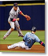 Evan Longoria And Asdrubal Cabrera Metal Print