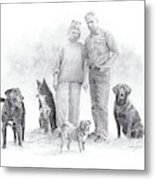 Family Parents And Dogs Metal Print