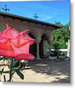 Flower by a Monastery Shrine - Bucharest, Romania  Metal Print