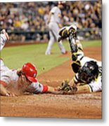 Francisco Cervelli and Mark Reynolds Metal Print