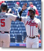 Freddie Freeman and Brandon Phillips Metal Print