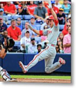 Gerald Laird and Chase Utley Metal Print