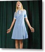 Girl singing on stage Metal Print