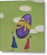 Girls Holding a Large Easter Egg Metal Print