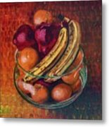 Glass Bowl Of Fruit Metal Print