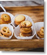 High Angle View Of Cookies In Tray On Table Metal Print
