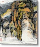 High Mountains And Flowing Water In       Metal Print