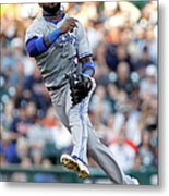 Ian Kinsler and Jose Reyes Metal Print