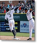 Ian Kinsler And Omar Vizquel Metal Print