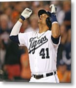 Ian Kinsler, Miguel Cabrera, and Victor Martinez Metal Print