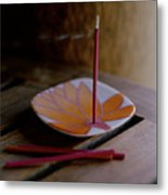 Incense Stick On Plate Metal Print