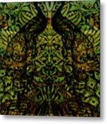 Indian Blue Peafowl Pattern Metal Print