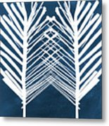 Indigo and White Leaves- Abstract Art Metal Print
