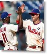 Jimmy Rollins and Chase Utley Metal Print